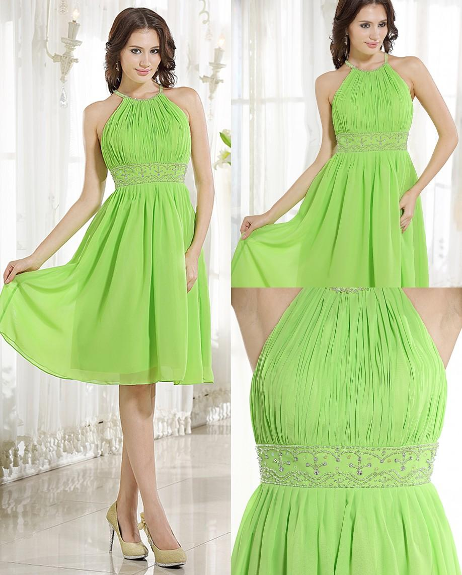 2016 Apple Green Short A Line Beaded Chiffon Bridesmaid Dresses ...