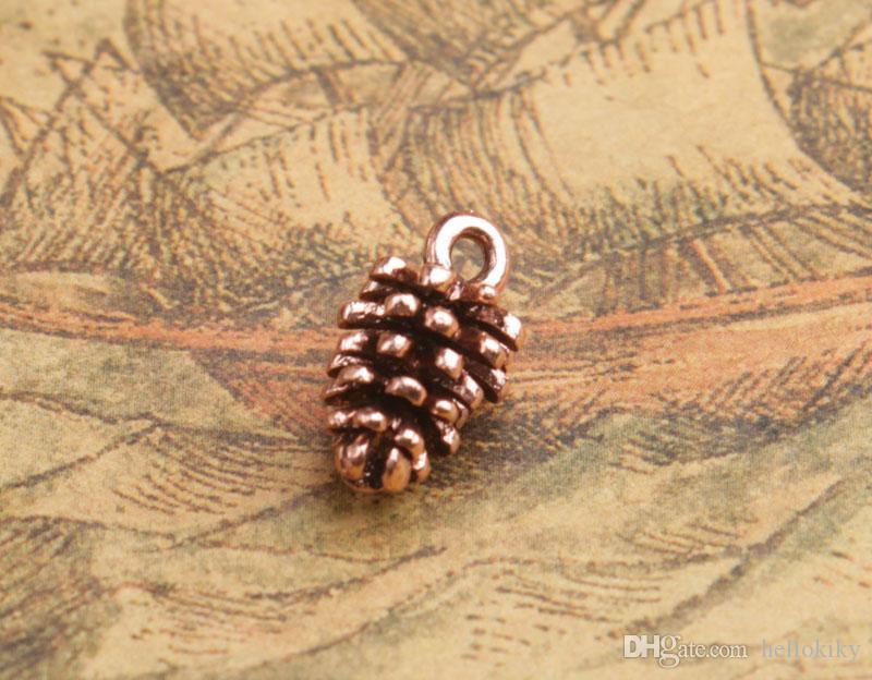 20 stks zilveren plaat / antiqued koper pinecone charme hangers # 92245- # 92246