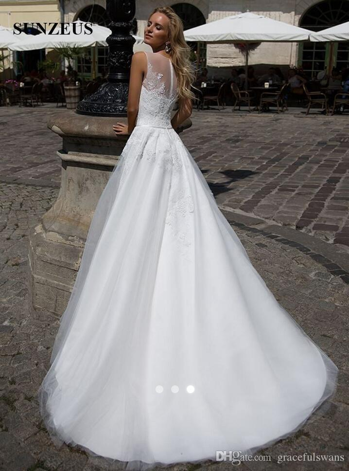 A-line Tank Appliques Lace Wedding Gowns Long Tulle Women Marrige Dress New Designer Bridal Gowns