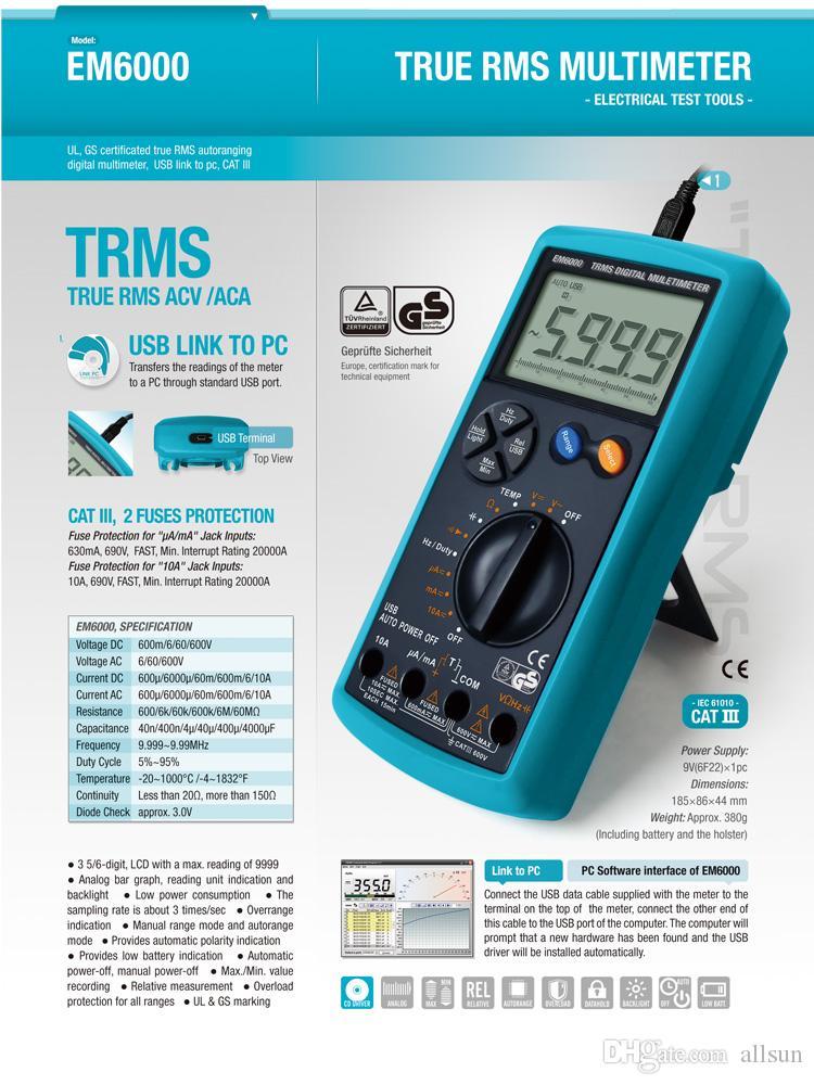 디지털 멀티 미터 True RMS 듀얼 퓨즈 LCD 자동 AC DC 볼트 미터 옴 온도 테스터 모든 Sun 모델 EM6000