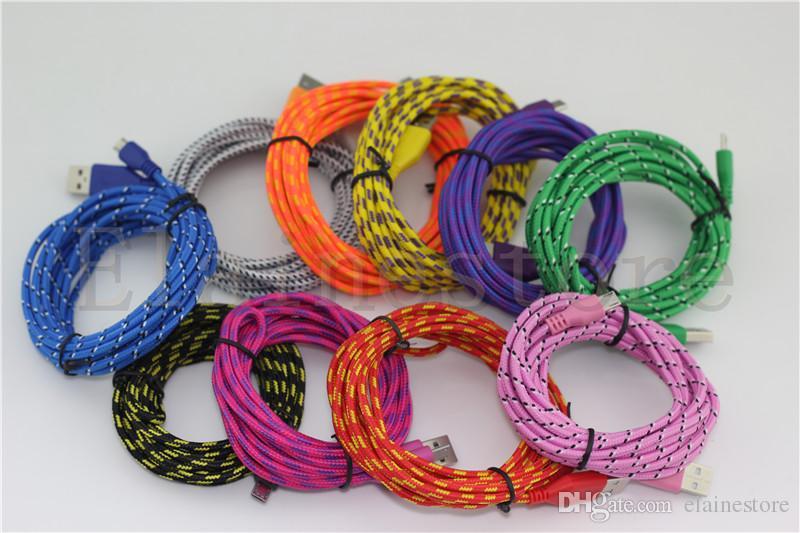 3 м 2 м 1 м микро usb нейлоновая ткань оплетка кабель синхронизации данных зарядки USB шнур 10 цветов для Samsung Galaxy S4 S3 примечание 2 BB Z10 HTC 100 шт. / Уп.