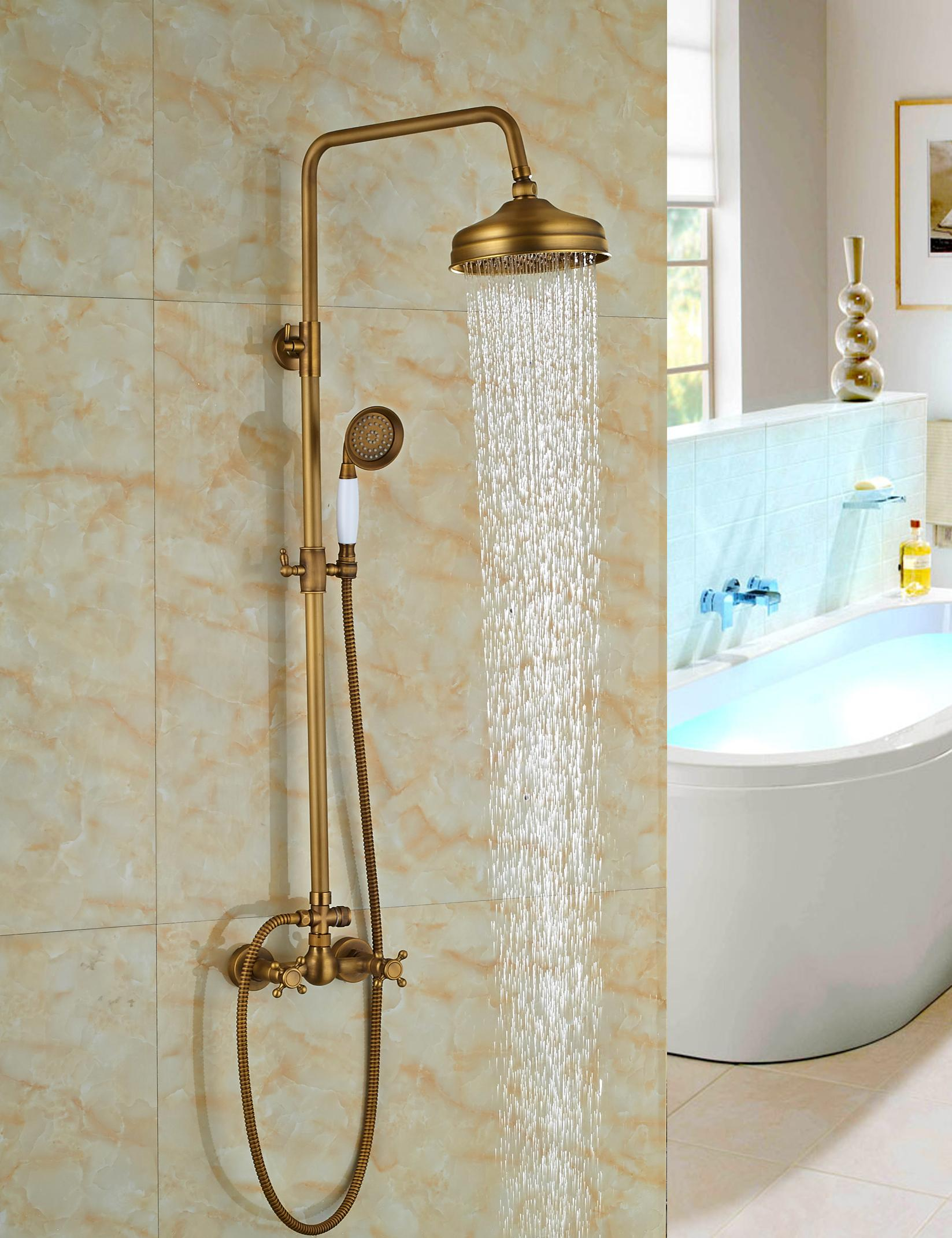 2019 Wholesale And Retail Antique Brass 8 Rain Shower Head Dual