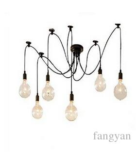 Classic Chandelier 6 Lights Chandelier Lamp E27 Spider Edison Diy ...