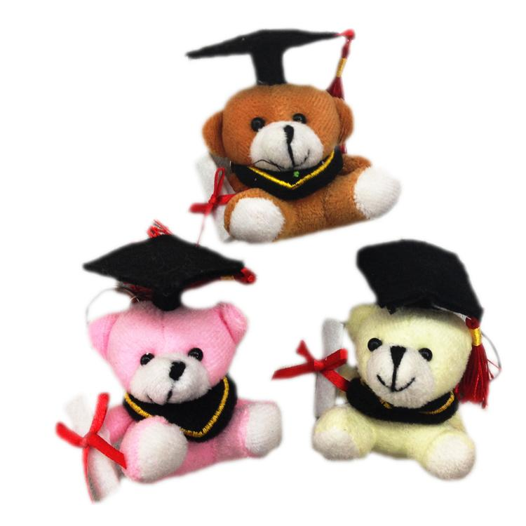 Bulk 24ps/Lot 6cm Cute Graduation Teddy Bear Plush Tactic Bear Doll Pendants Cartoon Stuffed Toy For Doctor/Students Gifts