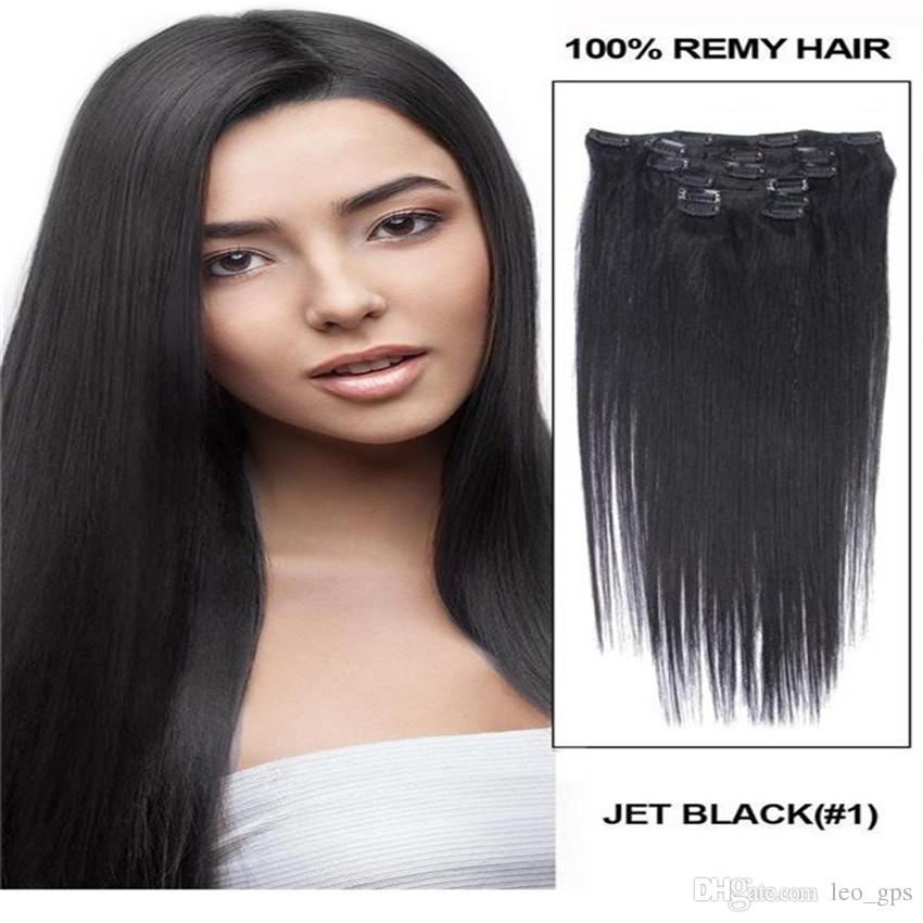 26 120g Full Head Remy Clip In Human Hair Extension Black Brown