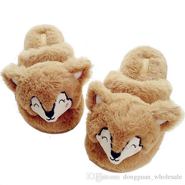 ccb45ba6cabd1 Lovely Cartoon Cotton House Slippers Women Winter Indoor Warm Plush Khaki  Fox Style Home Shoes bayan terlik pantoufle femme 2018