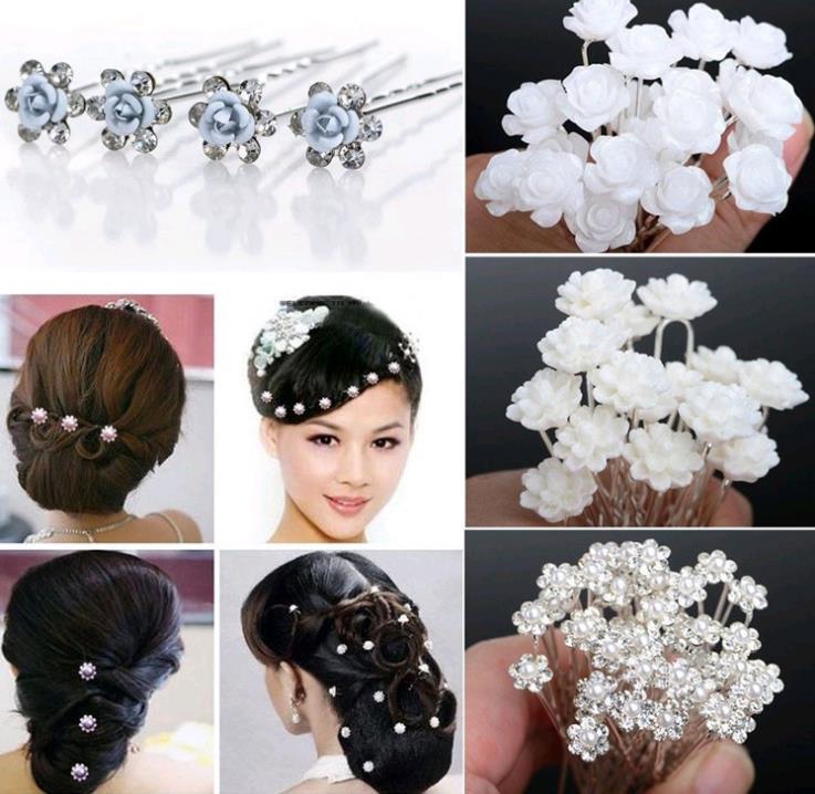 Flower Hair Pins For Wedding: Wedding Bridal Pearl Hair Pins Flower Crystal Hair Clips