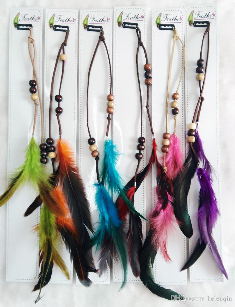 Beads leather fashion natural feather hair clip hair extension cheap feather hair extensions best fusion hair extensions u tips pmusecretfo Images