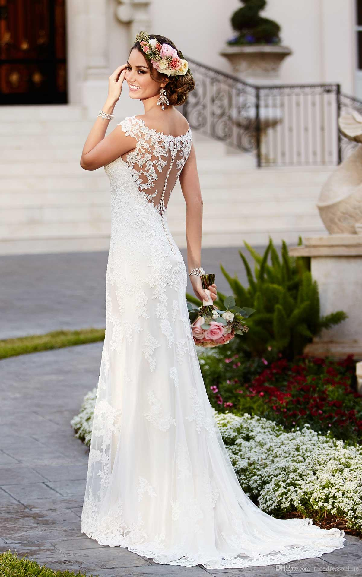 2016 Stella York Wedding Dresses Scoop Neck Appliqued Lace And Tulle ...