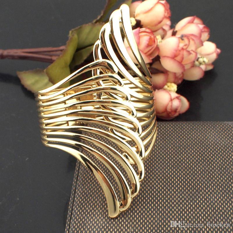 Горячие продажи мода панк женщины очарование ювелирные изделия металл твист покрытием скрещенные металлы романтический открытый манжеты браслеты аксессуары B354
