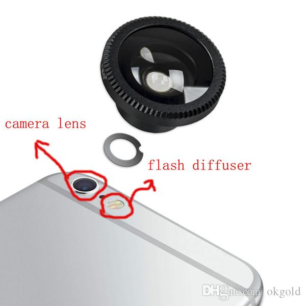 6P5540810AMby AM100% High Quality for iPhone 6 Plus 5.5 Rear Camera Lens Tempered Glass+Flash Diffuser Black White Gold