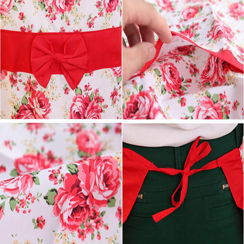 New Printed Apron with Pockets Waterproof Floral Bib Kitchen wearing Soil Release Bowknot Home Textiles Breech Cloth