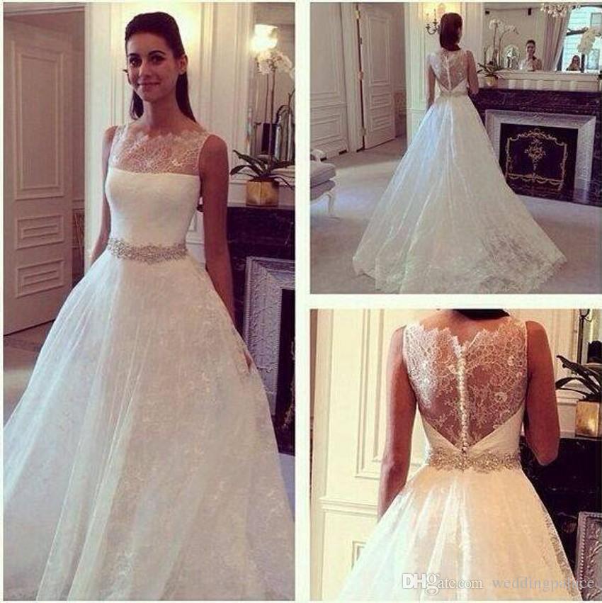 Newest Jewel Neck Tulle A-line Wedding Dresses Court Train Appliques Beaded Button up Back Bridal Dresses Wedding Gowns Vestido De Novia