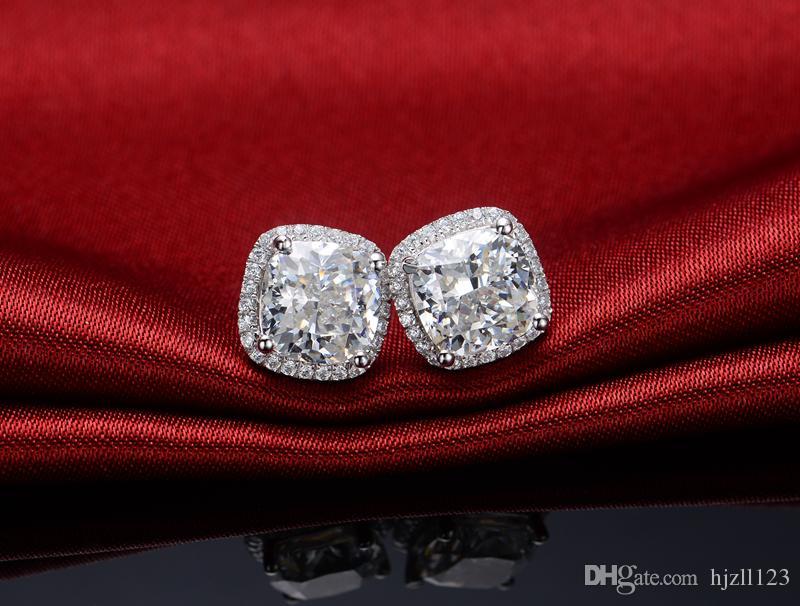 Toptan 2 karat / çift Prenses kare kesim kadınlar için sentetik elmas küpe düğün nişan küpe 18 k Beyaz Altın Kaplama