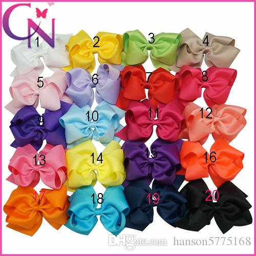 6 Inch Solid Ribbon Double Stacked Hair Bows With Barrette Hair Clips Baby Girl Boutique Hair Bows Accessories Free Shipping