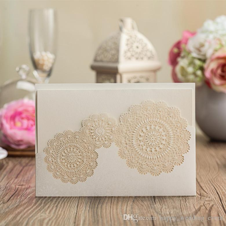 Diy Wedding Invitations Canada: White Wedding Invitation Card 2015 Lace Doily Pocket