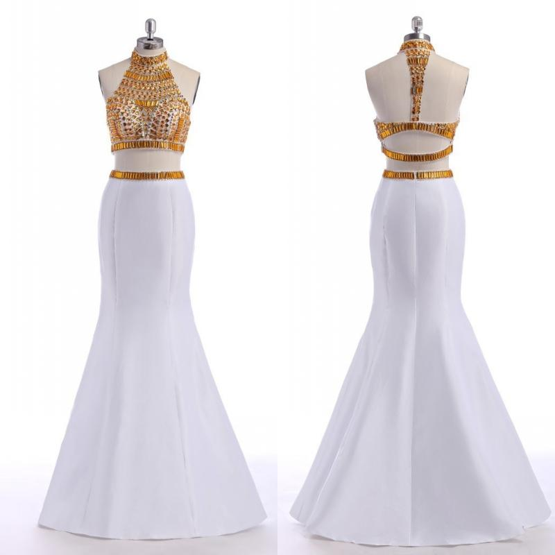 Hot Bling White Gold Prom Dresses 2016 With Crystals Two Pieces ...