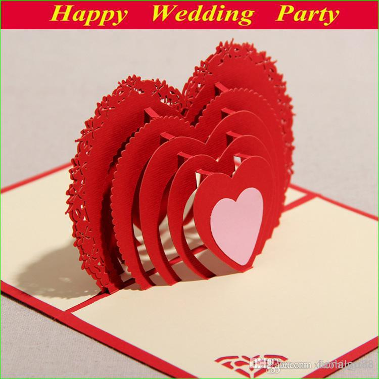 3d Red Greeting Card With Lover Heart For Valentine Day Sweet – Birthday Cards for Lover Free Online