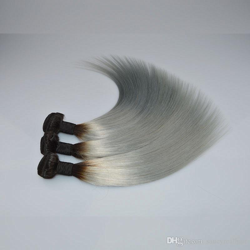 Elibess Sınıf 6A-100% İnsan Çift Atkı Saç Ipek düz Saç Demeti, Ombre renk T1B / Gri, ağırlık 100 g / adet 3 adet / grup, ücretsiz DHL
