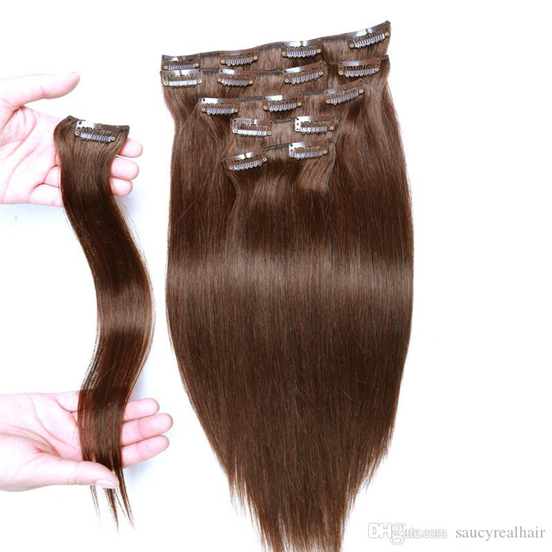 Clip In Human Hair Extensions Brazilian Virgin Hair 70 160g