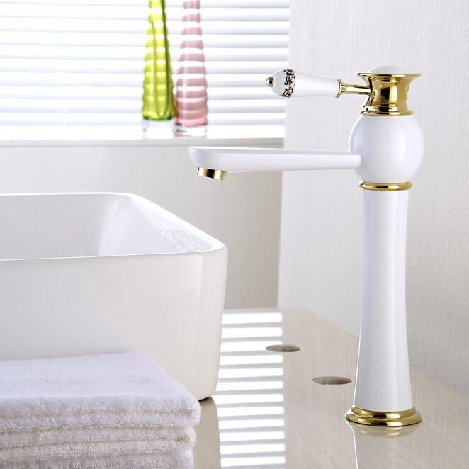 2018 Newly High End Solid Brass Faucets Europe Style White Painting ...
