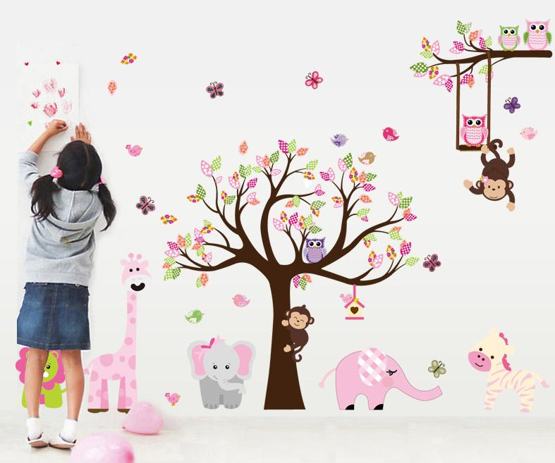 New Year Sales 300x130cm Big Size Pink Forest Animal Monkey Owls Tree Wall  Sticker Vinyl Mural Decal Girls Room Decor Gifts Wall Decals For Cheap Wall  ...