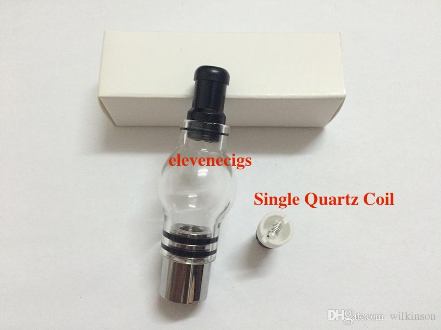 Newest Wax Coils Glass Globe Atomizer Dry Herb Vaporizer Replacement Wax Vapor Tank with Quartz Coil Head for EGO T Evod Battery