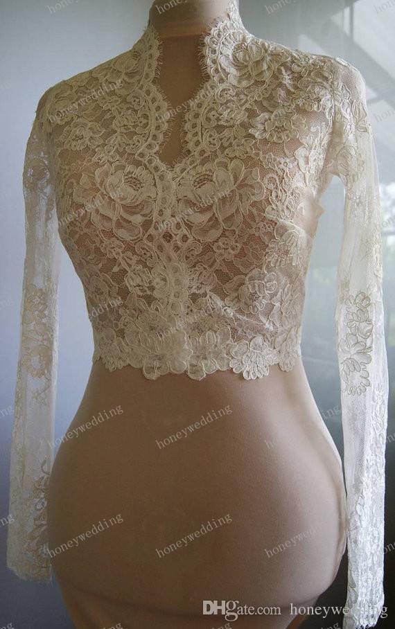 Düğün bolero ceketler dantel uzun kollu alencon Benzersiz güzel romantik düğün ceket bolero gelin sarar silkme elbisesi elbise çaldı şal