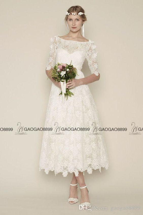 Vintage Lace Tea-length Wedding Dresses with Sleeves 2016 Custom Make Boat Neck A-line Short Beach Party Bridal Gown Cheap