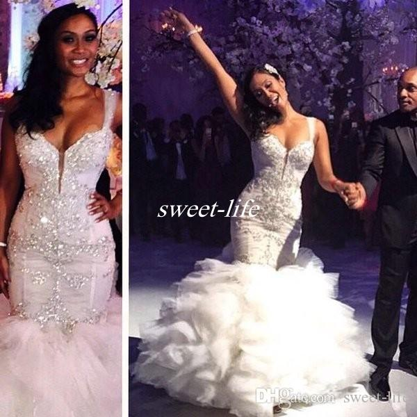 Hot Sale 2019 Vintage Mermaid Wedding Dresses with Luxury Crystals Cascading Ruffles Tulle Sweetheart Pnina Tornai Bridal Gowns Custom Made