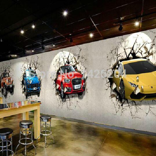 Great Wall Custom 3d Car Broken Wall Mural Wallpaper Office