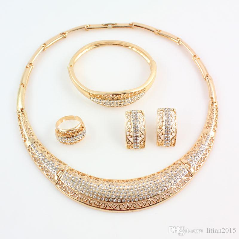 New Design African Costume Jewelry Sets 18K Gold Plated Fashion Wedding Women Bridal Accessories Necklace Earrings Set