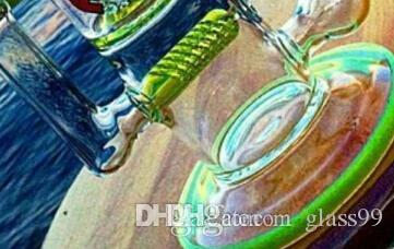 Bangs en verre de conduites d'eau en verre vert avec joints perceur et doublure pour cendrier 14 mm