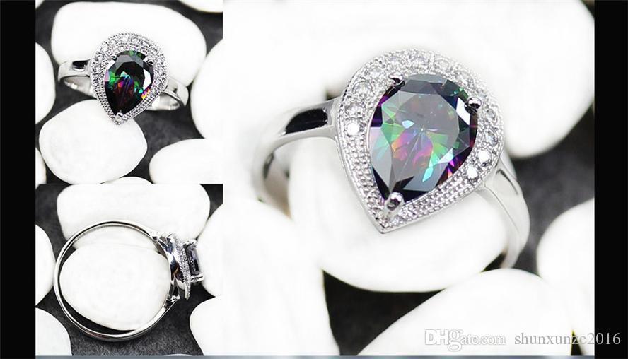 Zeitlich begrenzter Rabatt Edles Generous MN3187 sz # 6 7 8 9 Rainbow Fire Mystic Zirkonia Favorit Kupfer rhodiniert für Frauen Ringe