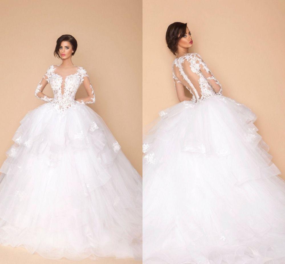 Discount Sexy Arabic Sheer Long Sleeves Designer Wedding