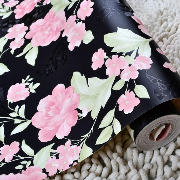 Warm pastoral purple floral wallpaper black rose wallpaper bedroom living room  wallpaper background pink clothing store