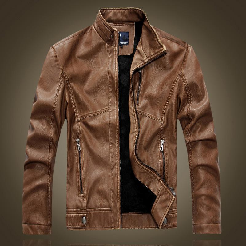 Discount Brown Faux Leather Bomber Jackets Pu Coats Mens Fashion ...