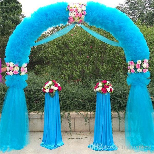 Arco de casamento Decorações Do Casamento Adereços Maneira Jardim Quin 2.5 m * 2.5 m Eanera Partido Flores Decoração Balão de Metal Branco Gaste Arco Circular Doo