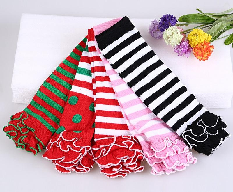 Baby solid color striped polka dot ruffle leg warmers kids girl birthday gifts leggings child Socks keep leg/arm warm