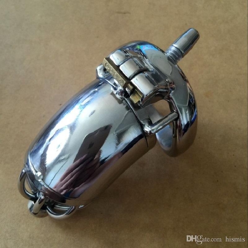 Newest Brand 90mm full length Stainless Steel Small Male Chastity Device with Catheter Cock Penis Cage For BDSM