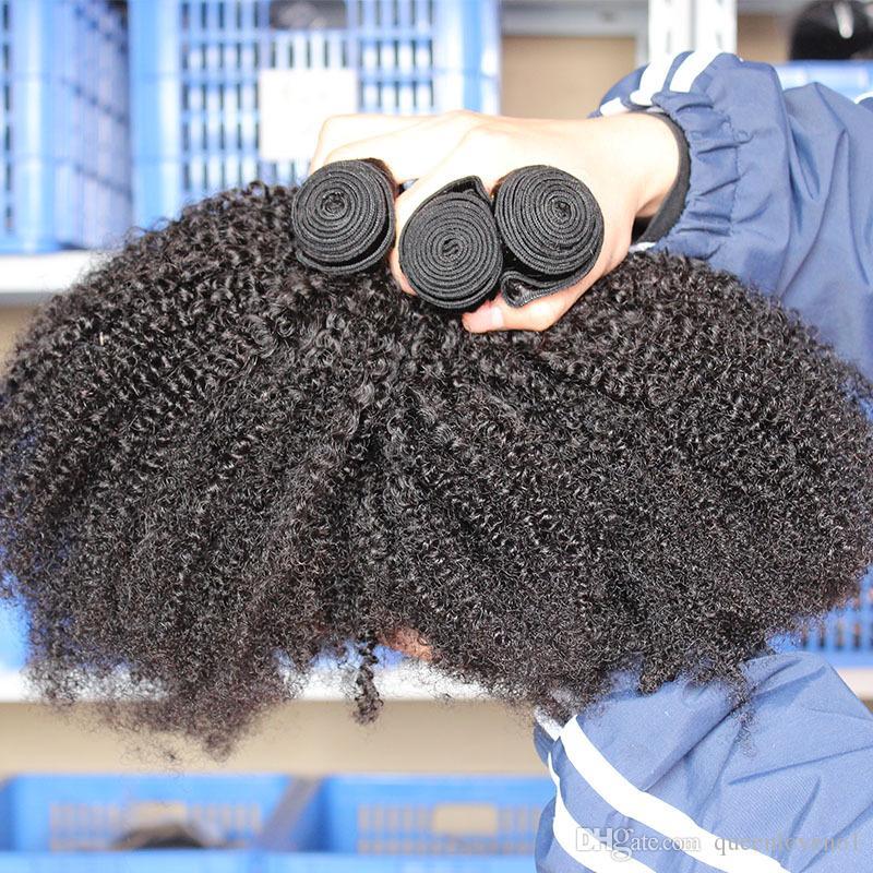 Mongolisches Afro verworrenes gelocktes reines Haar verworrenes gelocktes Haar spinnt menschliche Haar-Verlängerungs-natürliche Farbdoppelt-Einschlagfärbungen