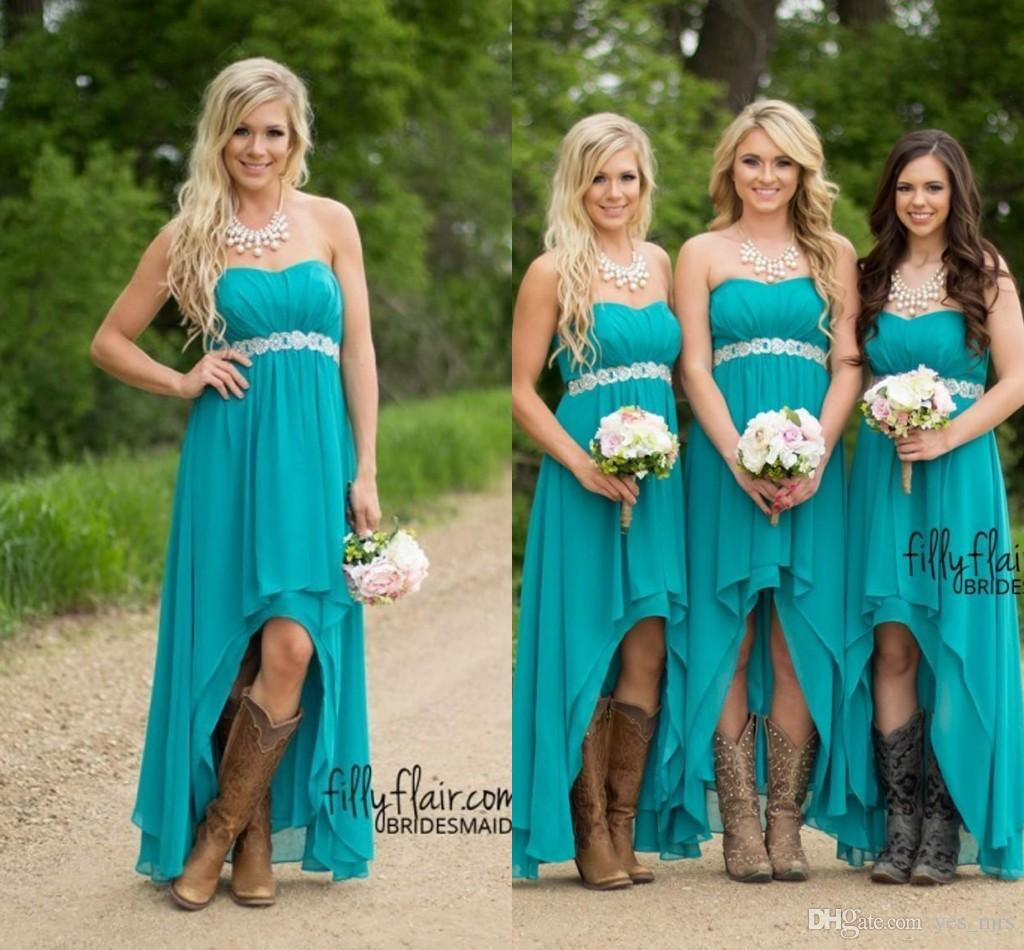 Country Bridesmaid Dresses 2016 New Cheap Short For Weddings Teal ...