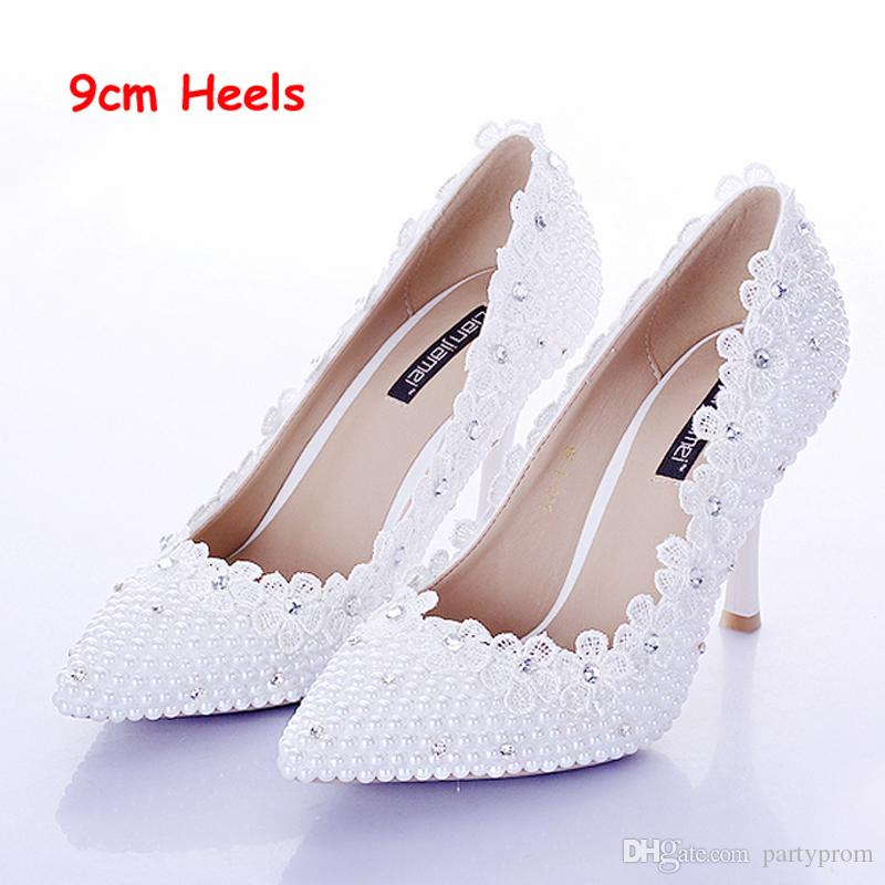 White Pearl Wedding Shoes For Bride Lace Flower Pointed Toe Sexy Stiletto Heel Women Prom Party Shoes Women Shoes Pumps