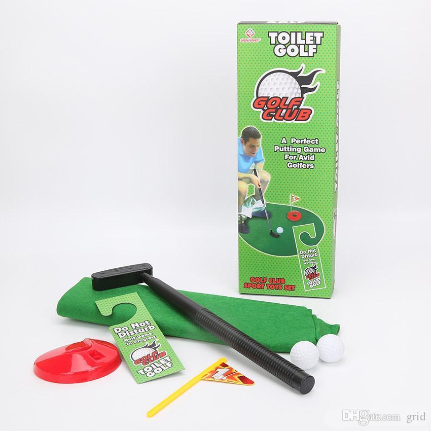 Nuevo deporte exótico de los deportes de calidad buena potty putter juego de golf de tocador Mini golf set de golf de inodoro putting green