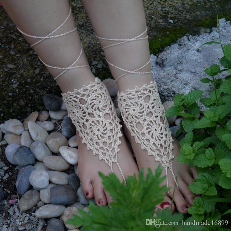 8967129e9cc7 Handmade Crochet Flower Barefoot Sandal Sexy Hand Beige Crochet Shoes Sandal