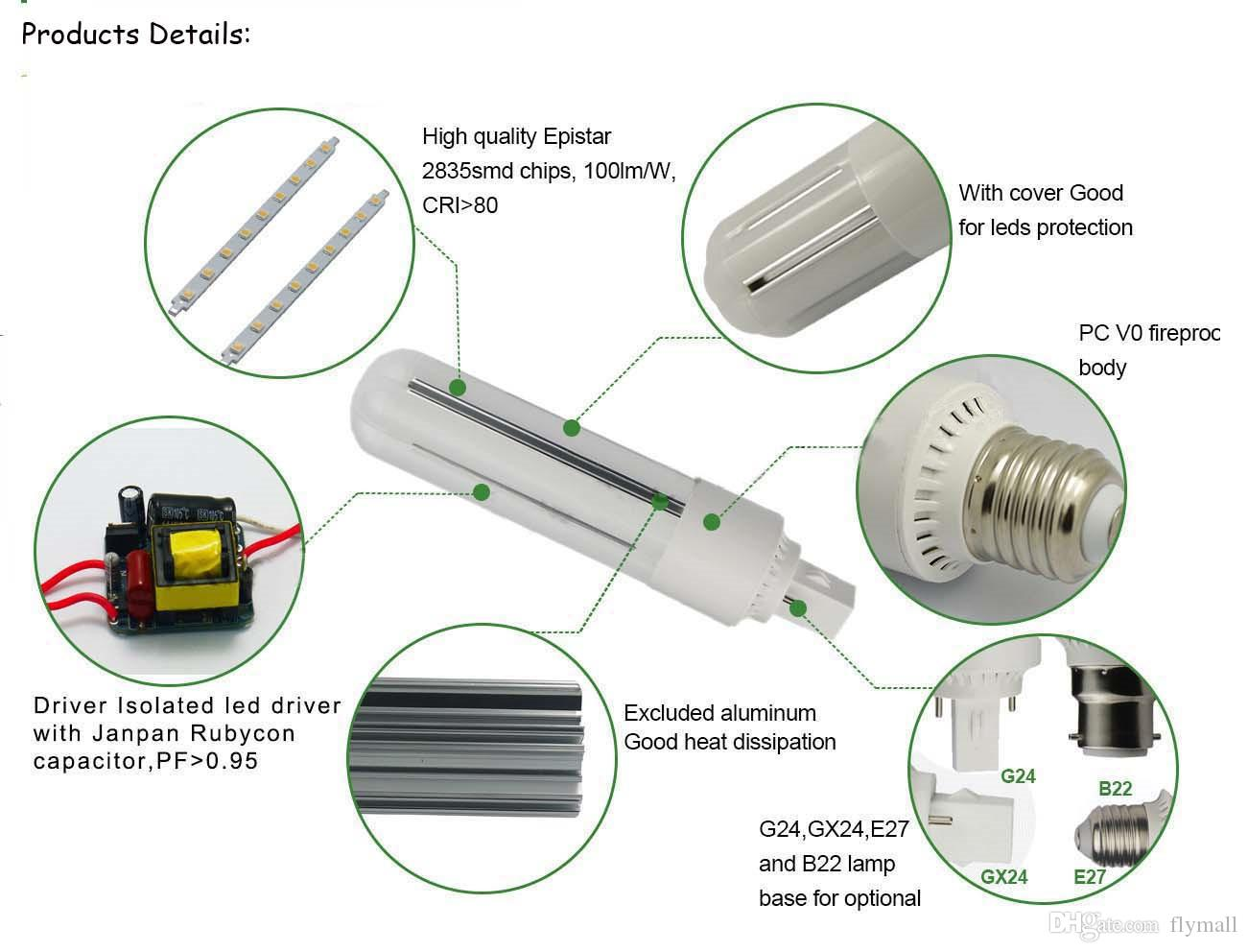 New Design PL Light LED Corn Bulb Light 9W 12W 15W 18W E27 G24 Led Bulbs Lamp 360 Degree AC 110-240V Warm/Cool White + 2 Years Warranty