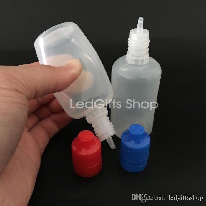 Hochwertige 50ml PE-Tropfflaschen mit Originalitätskindersicheren Kappe, lange dünne Spitze, 50ml PE e Flüssigkeit Flasche mit Originalitätskindersichere Verschlusskappe