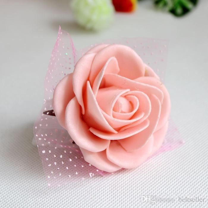 Weiß Hochzeitsthema Künstliche Braut Brautjungfern Handgemachte Blumen Handgelenk Corsage Hochzeit Bouquets 6 Farben erhältlich Kostenloser Versand