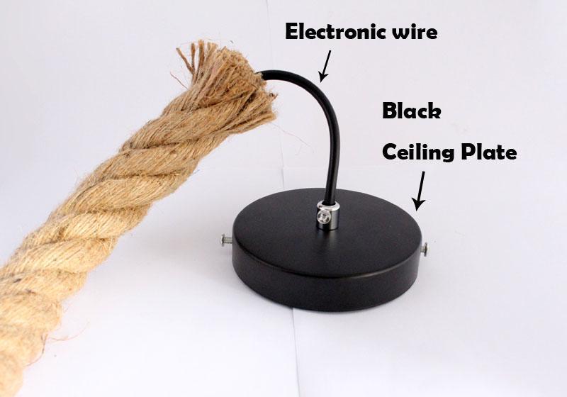 1M 2.5M Lunghezza Retro lampada a sospensione Illuminazione E27 Portalampada corda Vintage a mano a mano Portalampada in fibra di vetro AC85-265V Tensione 30MM Diametri