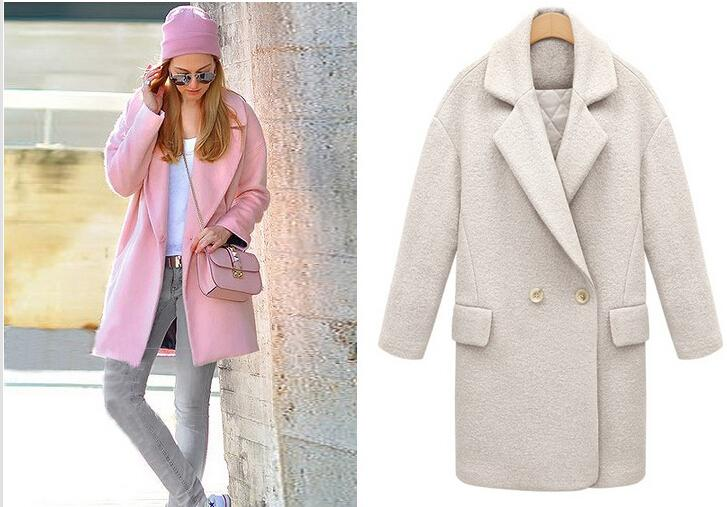 European and American Fashion New Winter Coats for Women 2015 Lapel Neck Loose Solid Wool & Blends Womens Coat Thick Long Woman Outerwear
